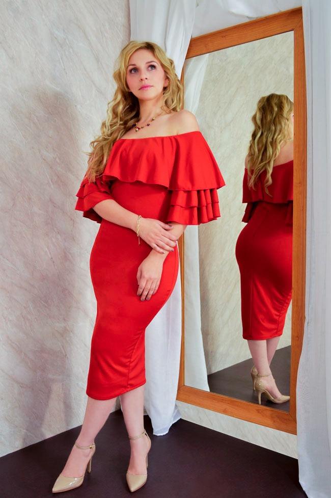 Vestido De Olanes Para Mujer En Color Chedron