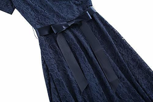 vestido de oscilacion de coctel de manga corta de encaje flo