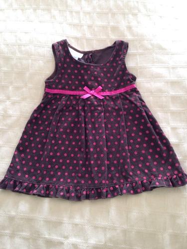 vestido de pana café con rosa talla 18 meses