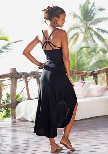 vestido de playa negro algodón cruzado en espalda.