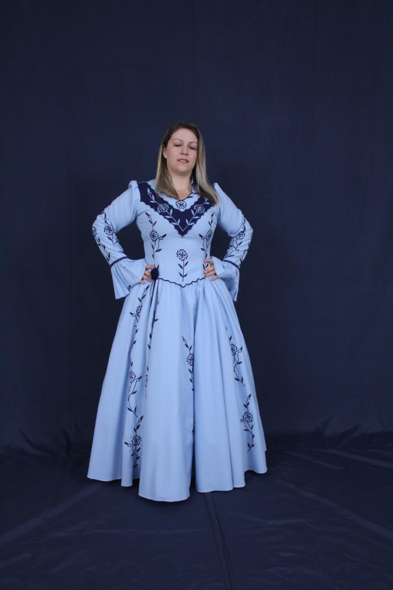 76d6d71c86092 Vestido De Prenda Azul Com Flores Gaúcho Baile - R  729