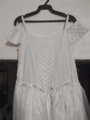 vestido de primera comunión, talla 12-14, colo hueso, manta