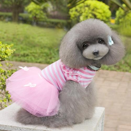 vestido de princesa con lazo a rayas para perro talla s