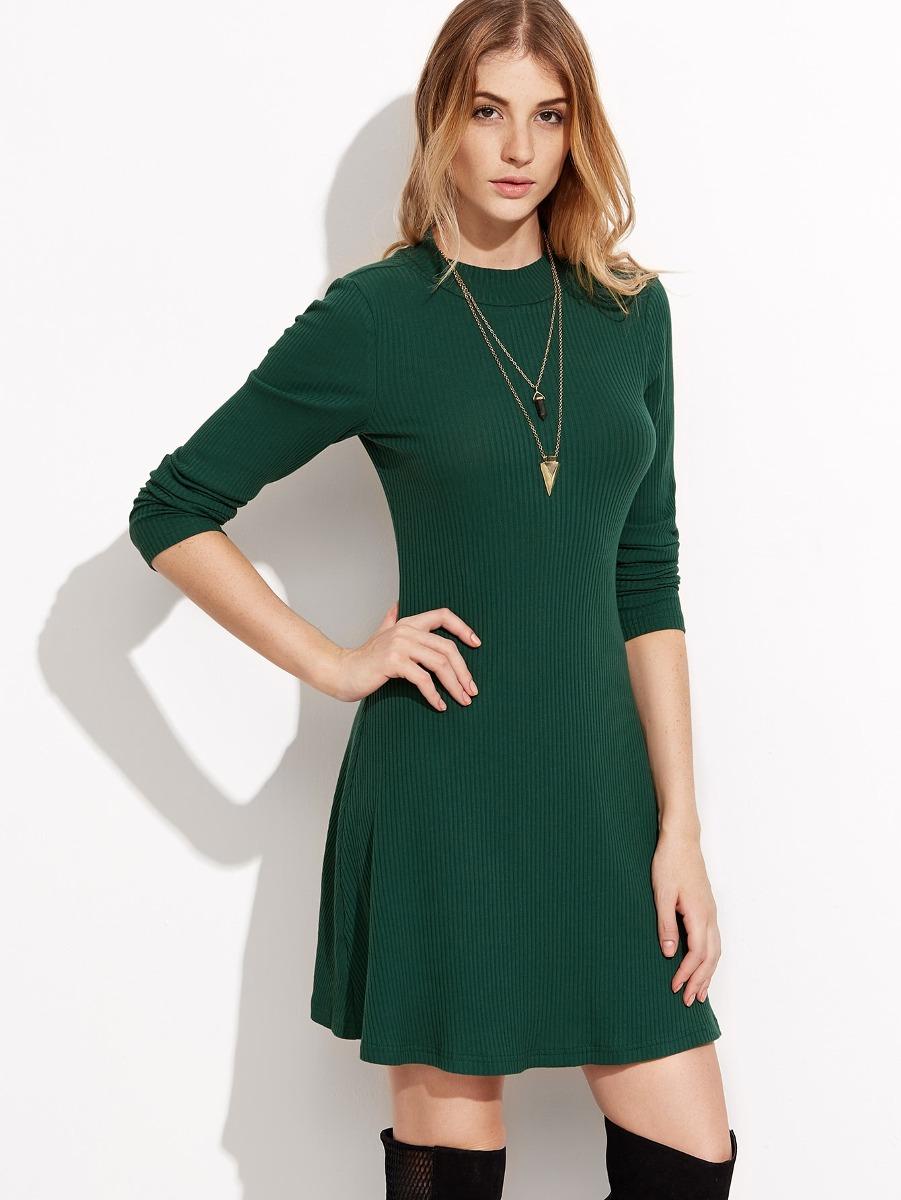 7eb91e9e2db Vestido De Punto Acanalado Con Manga Larga - Verde - $ 652.60 en ...