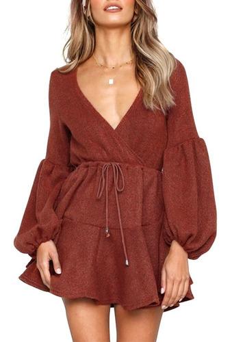 vestido de punto con cuello en v de las mujeres manga larga
