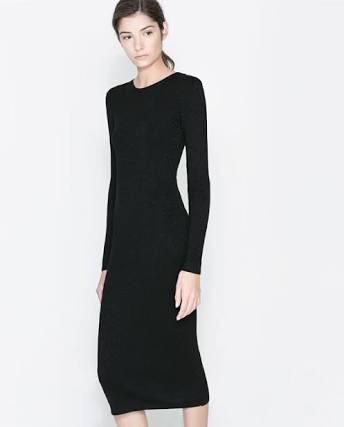 Vestido negro de punto zara