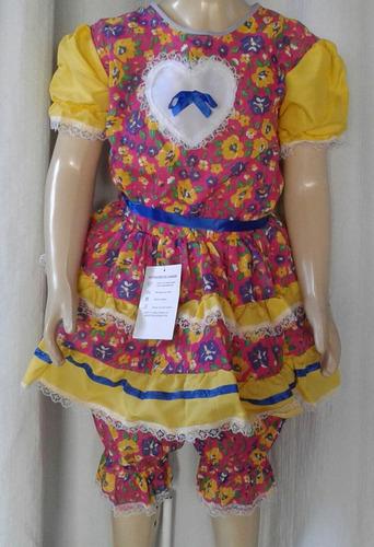 vestido de quadrilha infantil caipira com short calote