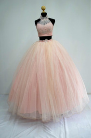 Vestido De Quince Años Crop Top Color Blush