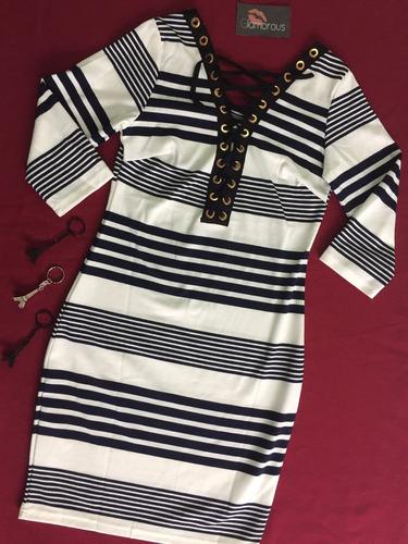 vestido de rayas doble algodón