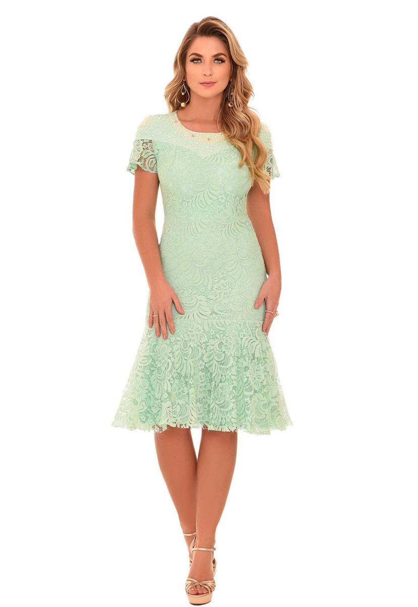 d7f6145cd vestido de renda fascinius glamour verde moda evangélica. Carregando zoom.