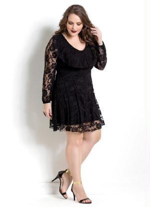 1dde09c87 Vestido De Renda Preto Quintess Plus Size - R$ 229,90 em Mercado Livre