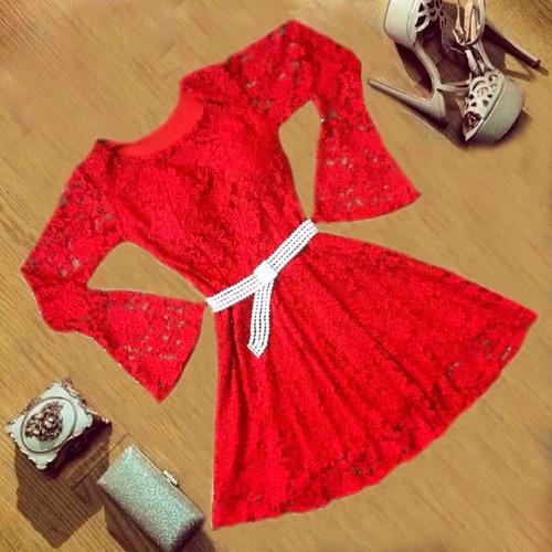 vestido de renda rodado chique vestidos femininos oferta