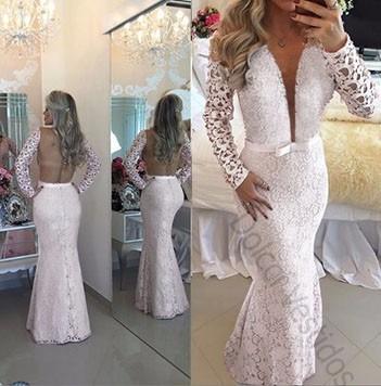 vestido de renda sereia longo noiva casamento com tule d089q