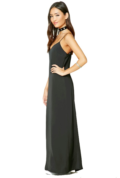 Vestido negro largo forever 21