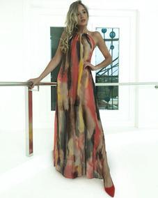 d17124558 Vestido Longo Seda Estampada Festa Longos - Calçados, Roupas e Bolsas no  Mercado Livre Brasil