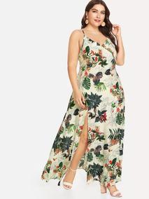 3d6512ed0 Vestido De Tirante Con Estampado Botánico Talla Extra M439