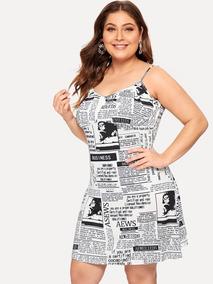 Vestido De Tirante Con Estampado De Periodico Grande