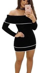 Vestido De Tricô Tricot Curto Ciganinha Manga Longa