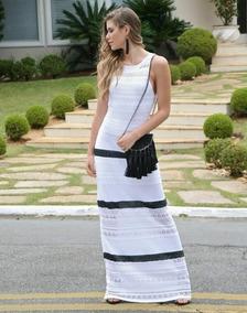 c955ee54de3 Vestido De Trico Longo Cor Branco E Lurex Prata (tamanho M)
