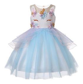 más tarde mayor descuento el mejor Vestido De Unicornio Con Flores Para Niñas + Envio Gratis