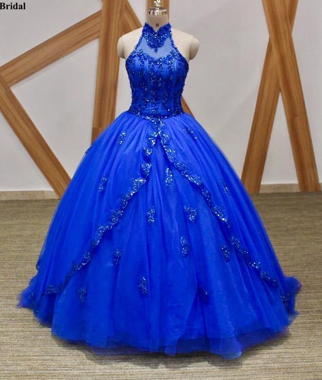 Vestido De Xv 15 Años Azul Rey Escote Halter Importado