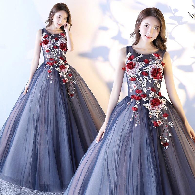 Vestido De Xv 15 Anos Dulces 16 Azul Marino Con Flores 3d
