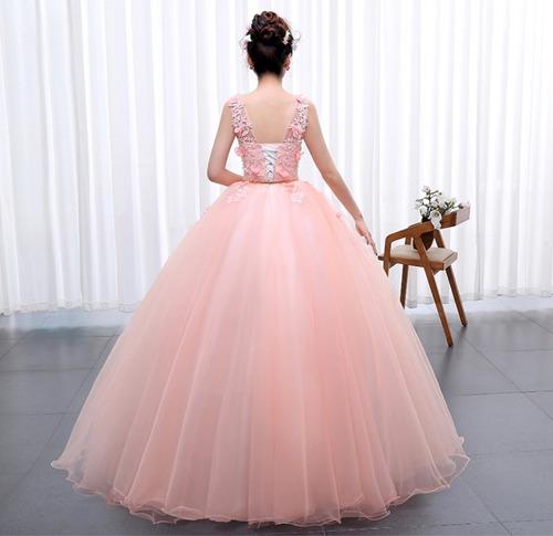 vestido de xv años 15 dulces 16 color melón flores encajes