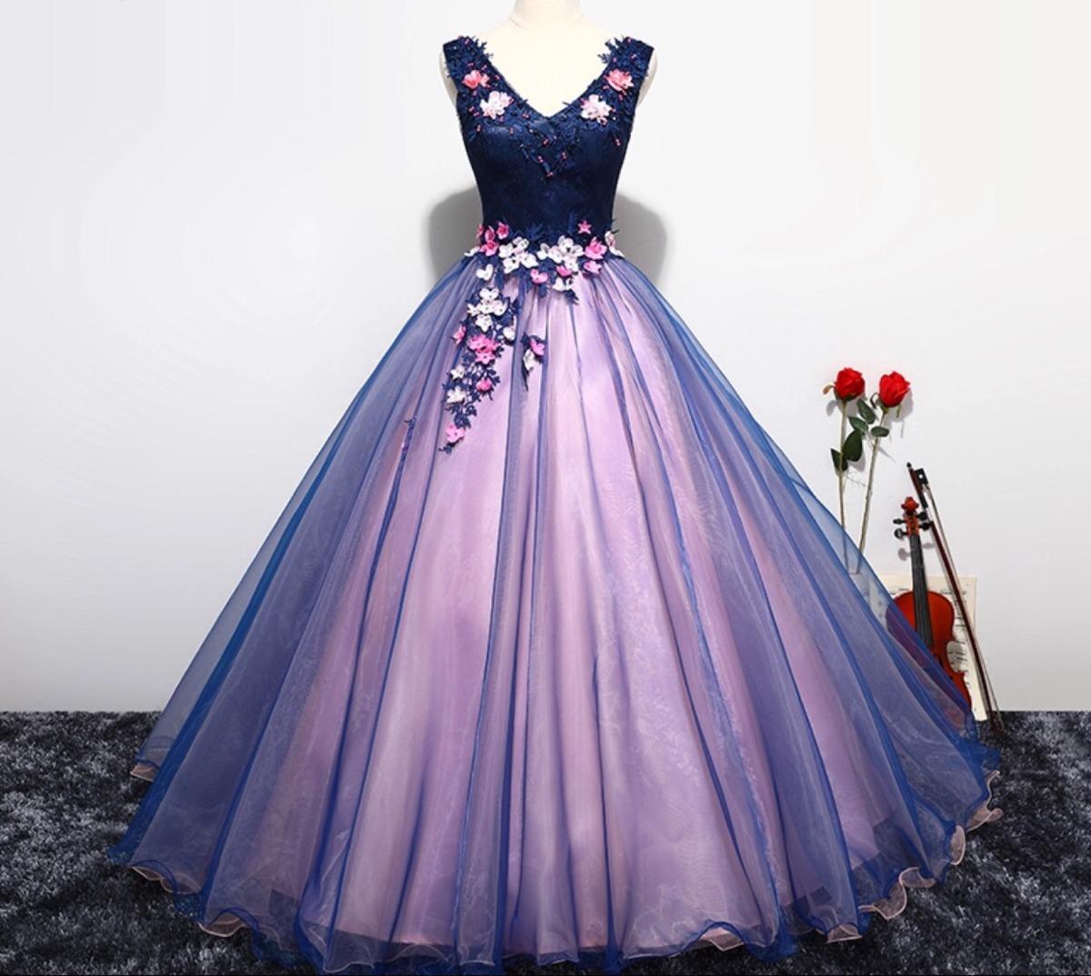 4cd0e8c86 Vestido De Xv Años 15 Dulces 16 Flores Bordado Rosas Azul ...