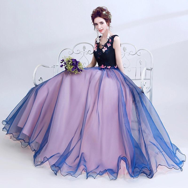 Magnífico Vestidos De Dama De Rosa Y Azul Ilustración - Vestido de ...