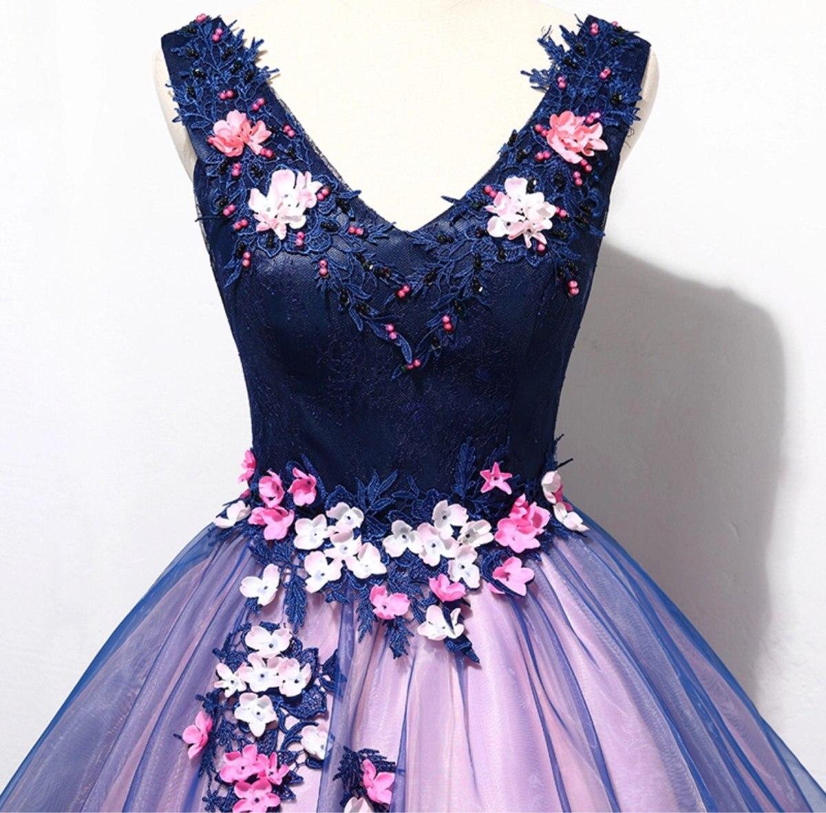 Vestido De Xv Anos 15 Dulces 16 Flores Bordado Rosas Azul