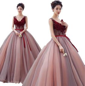 Vestido De Xv Años 15 Quinceañera Vino Flores Importado