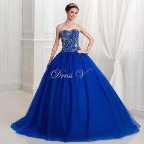 Vestido De Xv Años 15 Royal Blue Bordados Cristales