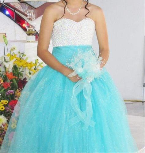 vestido de xv años color aqua