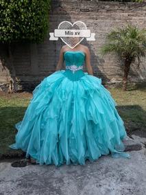 Vestido Azul Turquesa Con Pedreria Vestidos Usado En