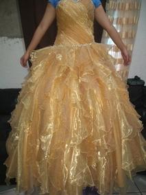 Vestido De Xv Años Color Dorado Con Piedras Tornasol