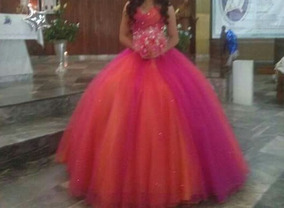 Vestido De Xv Años Color Naranja Con Fiusha