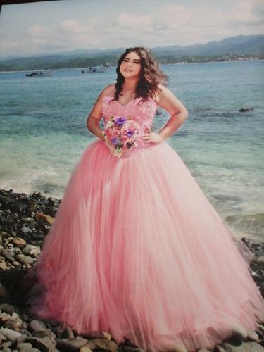 vestido de xv años, color rosa, talla grande, seminuevo