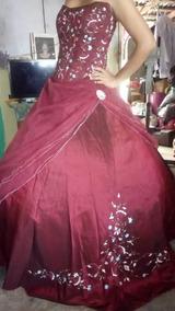 Vestido De Xv Años Color Vino Listo Para Usar