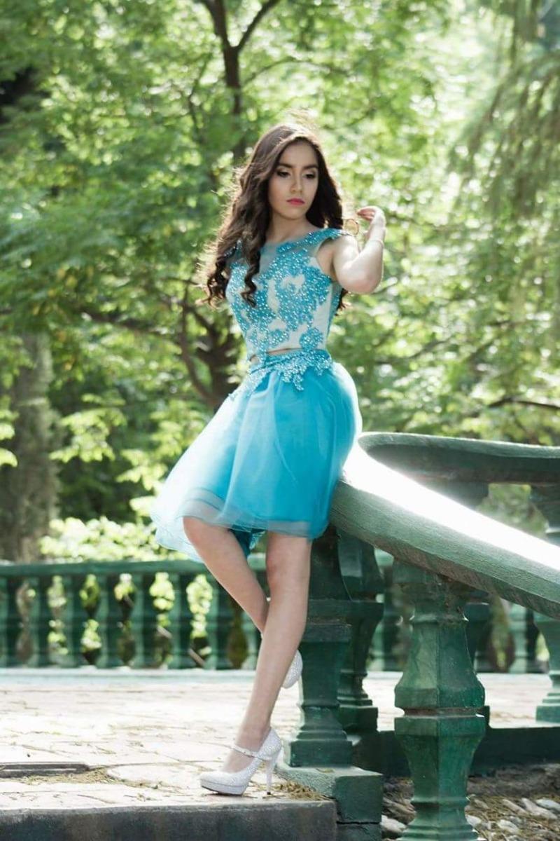 9ebd94928 vestido de xv años corto azul aqua turquesa. Cargando zoom.