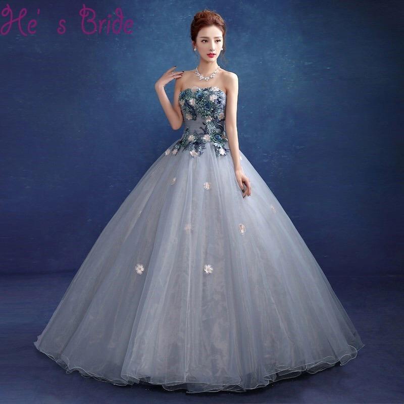 Vestido De Xv Años Dulces 16 Gris Con Flores 3d