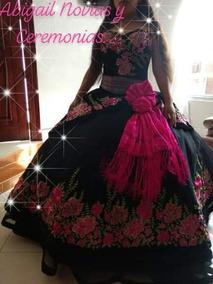 Vestido De Xv Años Mexicano Negro Con Flores