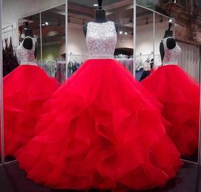 Vestido De Xv Años Rojo Plata Con Lentejuelas