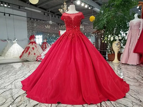 Vestido De Xv Años Rojo Satin Colección 2020
