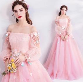 Vestido De Xv Años Rosa Con Flores Colección 2020