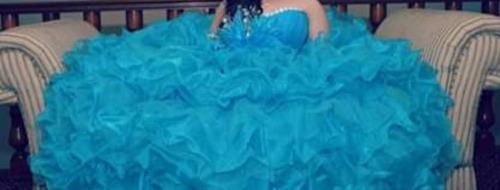 vestido de xv casa iza color turquesa