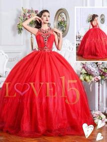 Vestido de xv rojo liso