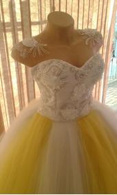 Vestido Debutante Dourado 2 1 Vestidos Femininas Branco Em