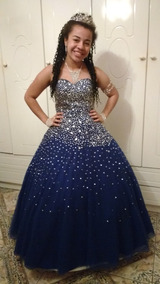 57147a4e5 Vestido Azul Royal Com Perolas - Vestidos De 15 anos Femininas no Mercado  Livre Brasil