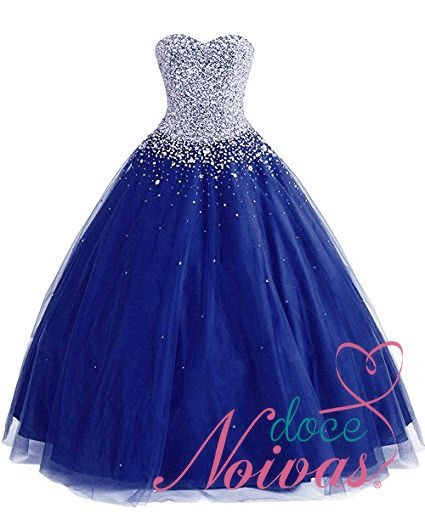 Vestido azul royal para debutante