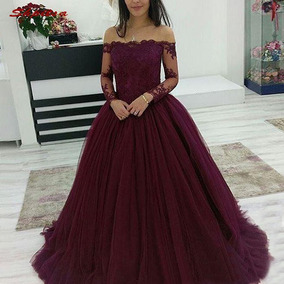 8254a4e560c Vestido Debutante,noiva Festa, 15 Anos, Manga Longa Renda
